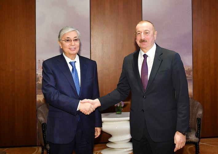 Президент Ильхам Алиев встретился с президентом Казахстана